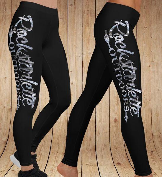 Logo Leggings, Black with Snow Birch Camo Rockstarlette Outdoors Logo (Option to add Wide Yoga Waistband)