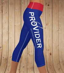 PROVIDER™ Fishing Logo Yoga CAPRI, Wide Waistband, Red White and Blue (option to make full length)