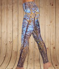 Birch Tree Yoga Leggings, Fall Camo Pattern, Wide Yoga Waistband