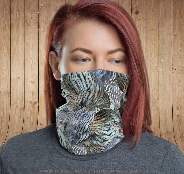 Gaiter/ Face Shield/ Headband, Turkey Feather Pattern, NEW!