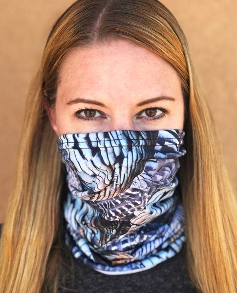 Turkey Feather Pattern Neck Gaiter/Facemask/Headband, NEW!