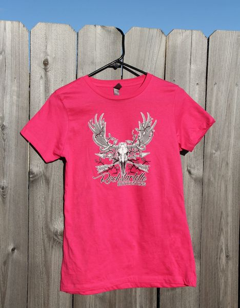 Youth Size, SALE 65% OFF, Rockstarlette Bowhunting Moose Logo T Shirt, Hot Pink