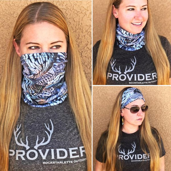 Neck Gaiter/ Facemask/ Headband, Turkey Feather Pattern, NEW!