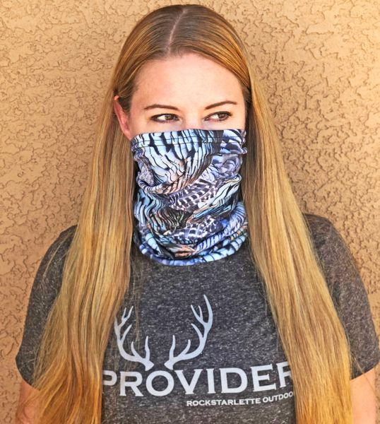 Face Shield/ Headband/ Neck Gaiter, Turkey Feather Pattern, NEW!