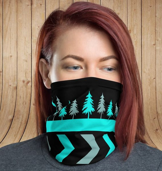 Gaiter/ Face Shield/ Headband, Teal Tree Pattern, NEW