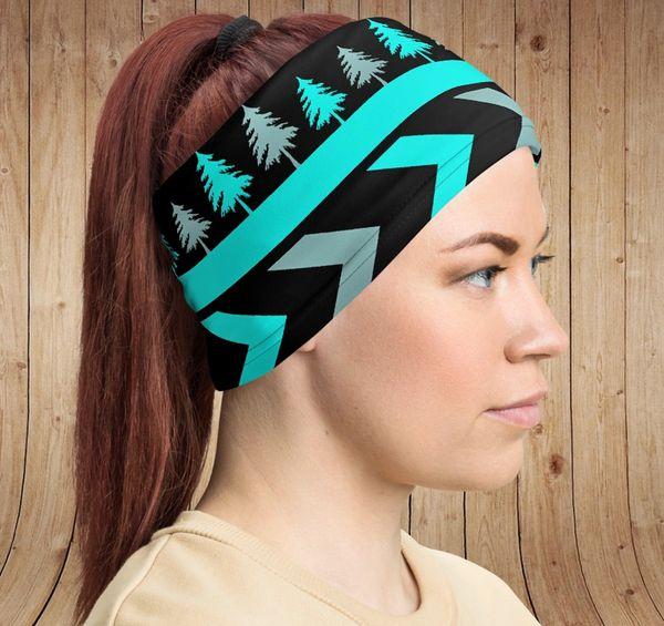 SALE 20% OFF, Gaiter/ Face Shield/ Headband, Teal Tree Pattern