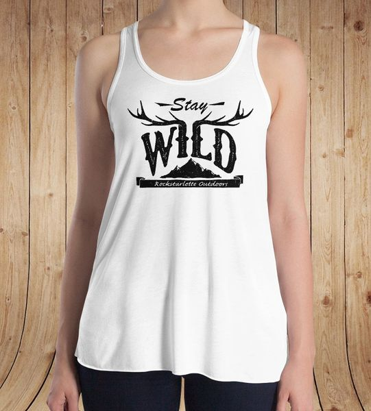 Stay Wild Racerback Tank Top, Relaxed Loose Fit Waist, White, NEW