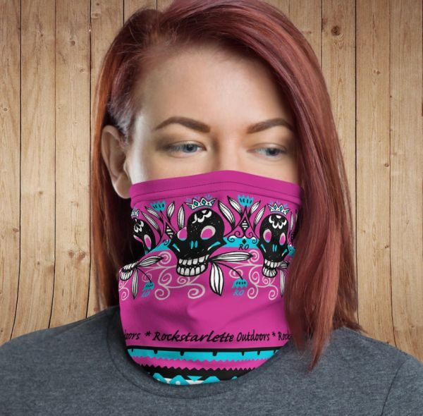 Face Shield/ Headband /Neck Gaiter, Hot Pink Tattoo Pattern, NEW