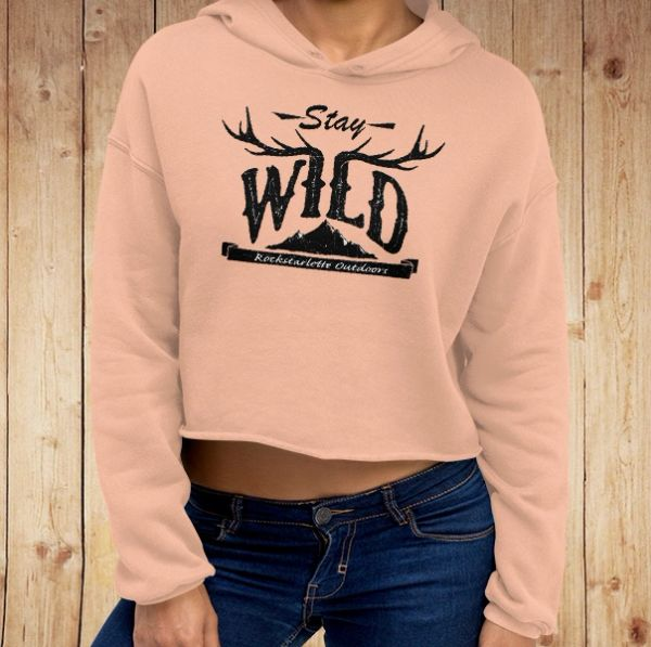Stay Wild Fleece Lined CROPPED Hoodie, Peach