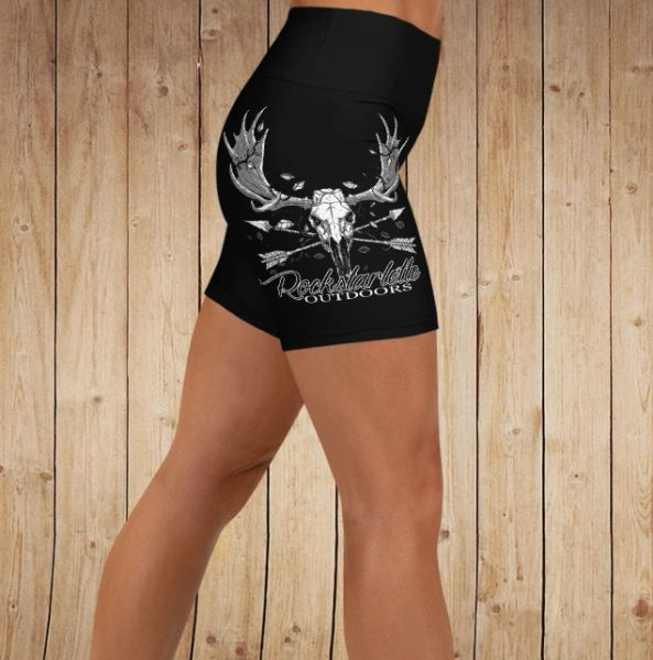 Shorts, Moose / Archery Logo, Yoga Waistband, Athletic Shorts