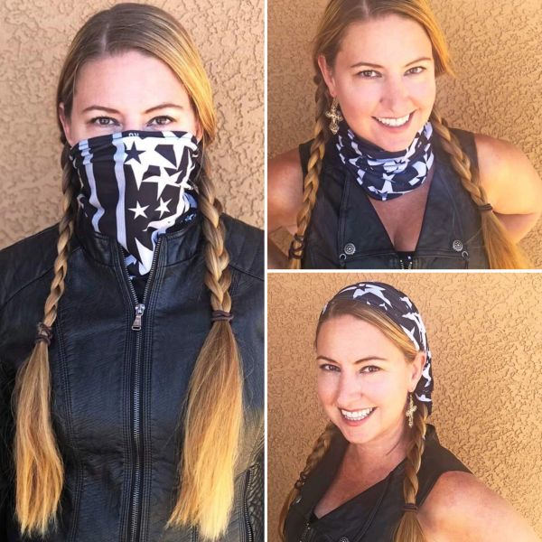 Face Shield/ Headband /Neck Gaiter, Stars and Stripes, NEW