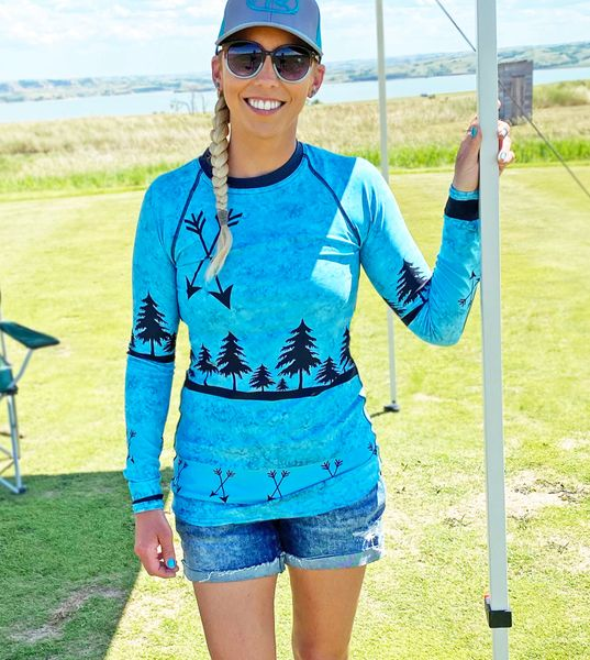 UPF 40 Sun Shirt/Rash Guard, Teal Arrow Pattern