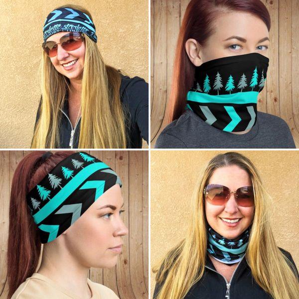 Face Shield/ Headband/ Neck Gaiter, Teal Tree Pattern, NEW