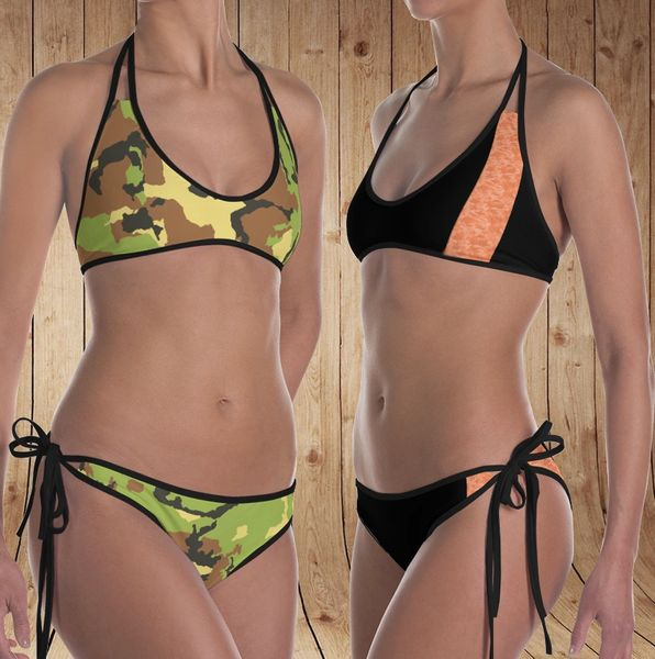 Reversible Bikini, Get Two Swimsuits in One, Camo Patterns, Made in the USA