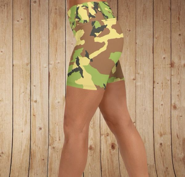Shorts, Camo Pattern, Yoga Waistband, Workout or Swim