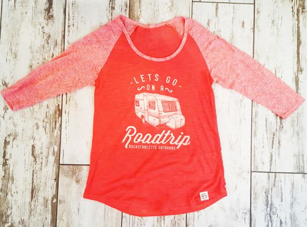 SALE 50% OFF, Lets Go On A Roadtrip, Raglan 3/4 Sleeve T Shirt, Papaya
