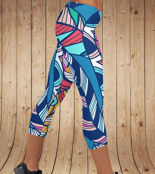 Bright Feather Leggings, CAPRI (Option for Yoga Waistband)
