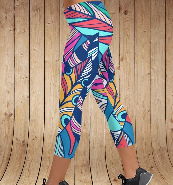 Bright Feather Leggings, CAPRI (Option for Yoga Waistband)