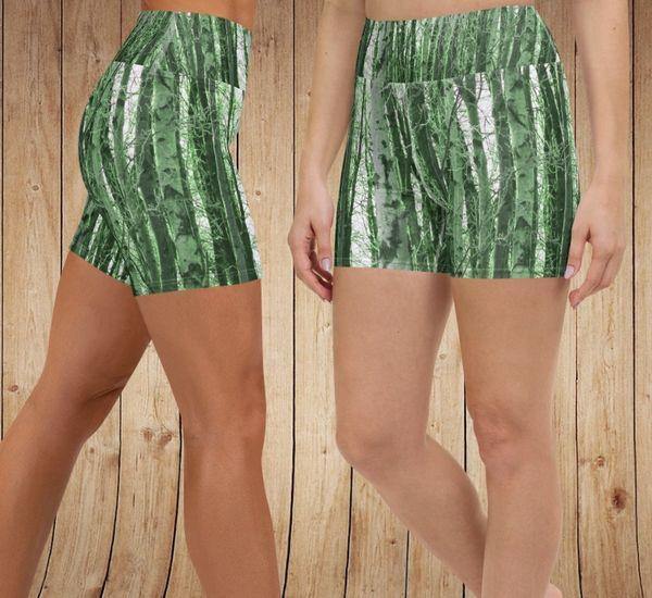 Shorts, Green Camo Birch Pattern, Wide Yoga Waistband, Athletic Short/Swim