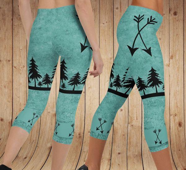 Arrow Leggings, Teal, CAPRI Version (Option to add Wide Yoga Waistband)