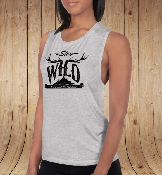 Stay Wild, Relaxed Fit Muscle Tank Top, NEW! Athletic Grey