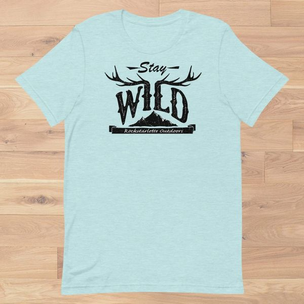 Stay Wild Relaxed Fit T shirt, Pink, Heather Ice Blue or Heather Grey, XS-3XL