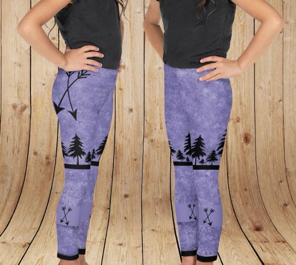 Youth Arrow Leggings, Purple, (2T-14)