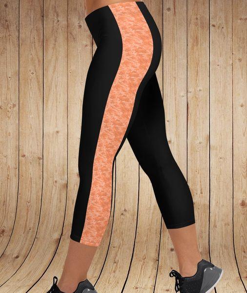 Orange Camo Stripe CAPRI Leggings