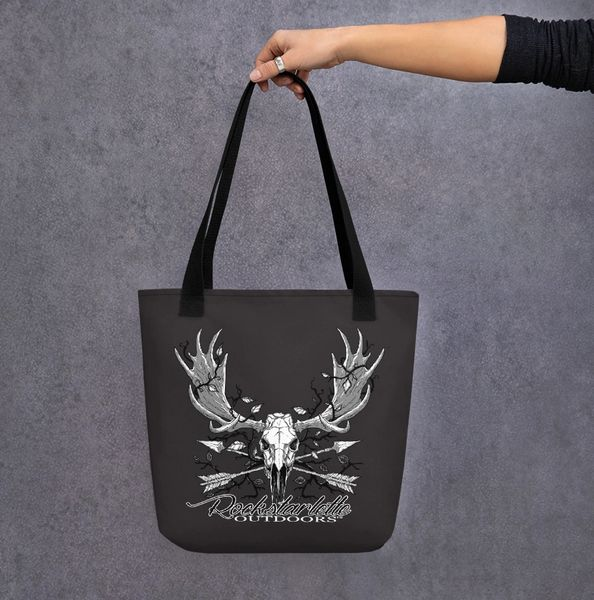 Tote Bag: Rockstarlette Outdoors Archery Moose Logo, Black