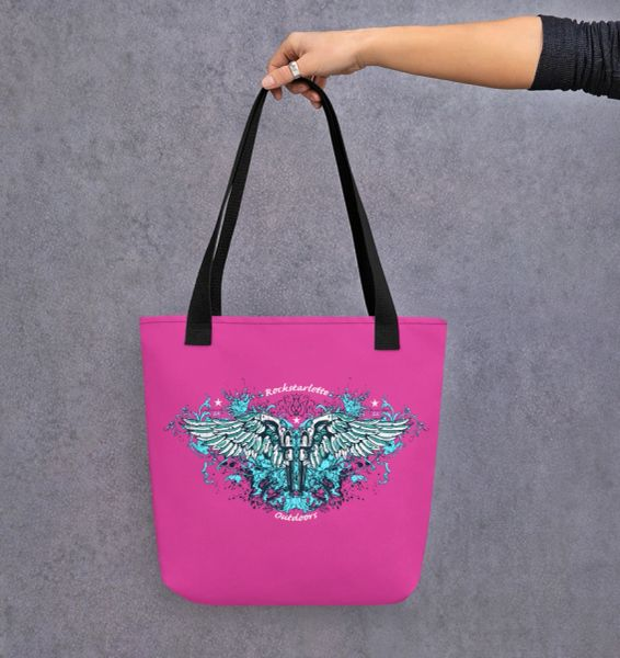 Tote Bag: Handgun 2nd Amendment Logo, Hot Pink or Black, Weather Resistant