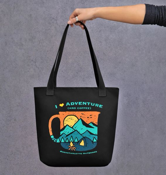 Tote Bag: I Love Adventure (and Coffee), Weather Resistant