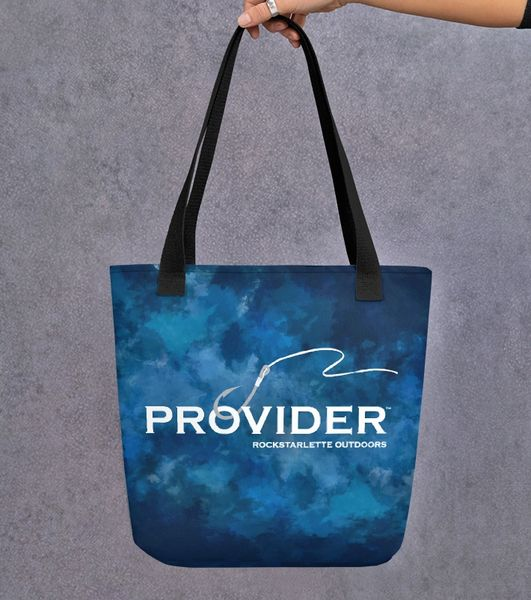 Tote Bag: PROVIDER™ Fishing Logo, Watercolor Blue