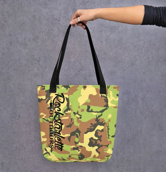 Tote Bag: Camo Rockstarlette Outdoors Logo, Weather Resistant