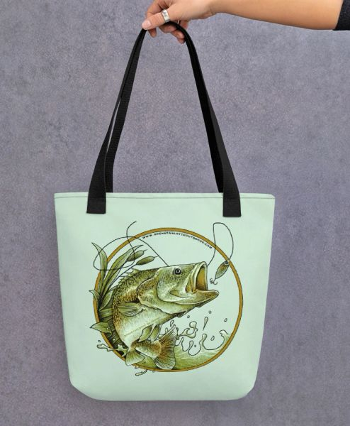 Tote Bag: Bass Fishing Logo, Weather Resistant