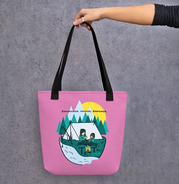 Tote Bag: Mother Daughter Camping Logo, Encourage. Inspire. Empower