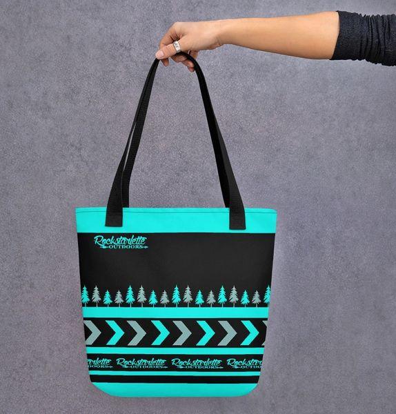 Tote Bag: Rockstarlette Outdoors Teal and Black Logo, Weather Resistant