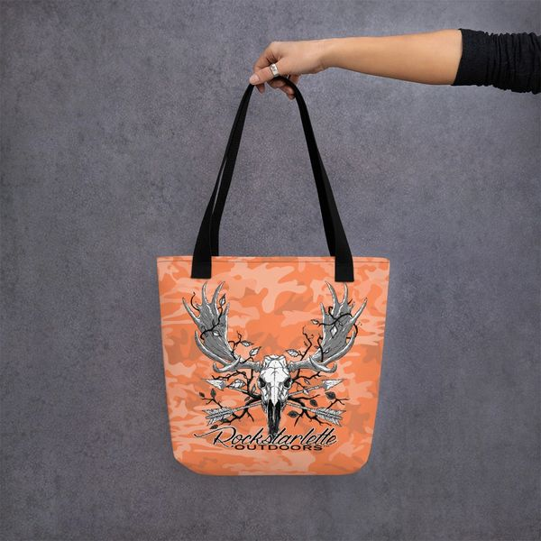 Tote Bag: Orange Camo, Rockstarlette Outdoors Archery Moose Logo, Made in the USA