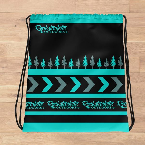 SALE, Tote Bag: Rockstarlette Outdoors Teal and Black Drawstring Tote