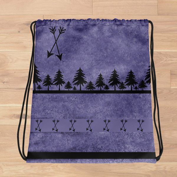 Tote Bag: Purple Arrow Pattern, Drawstring Bag