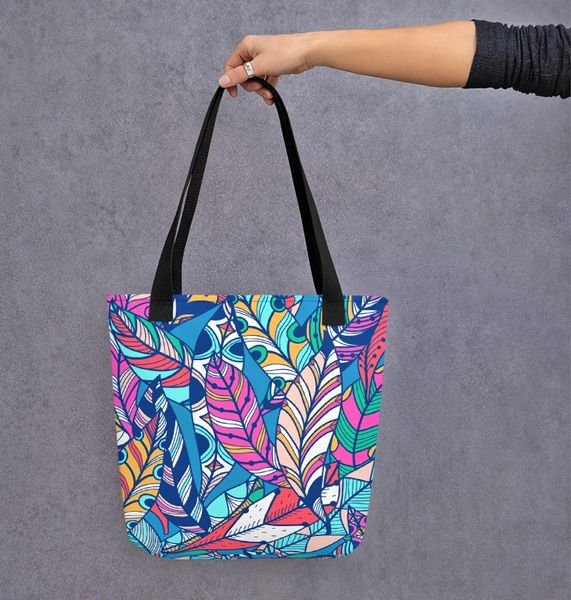 Tote Bag: Bright Feather Pattern
