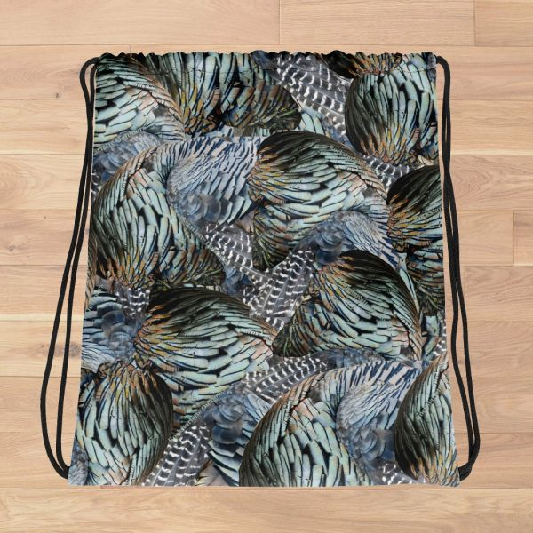Tote Bag: Turkey Feather Pattern Drawstring Tote, Made in the USA