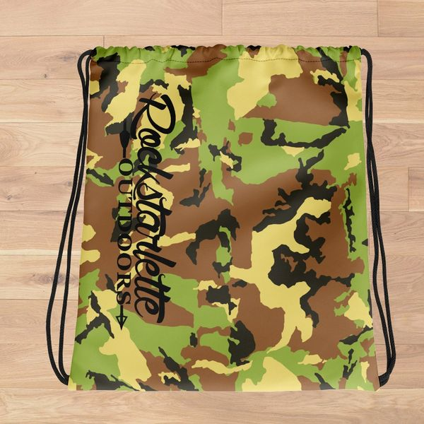Tote Bag: Camo Rockstarlette Outdoors Drawstring Tote, Made in the USA