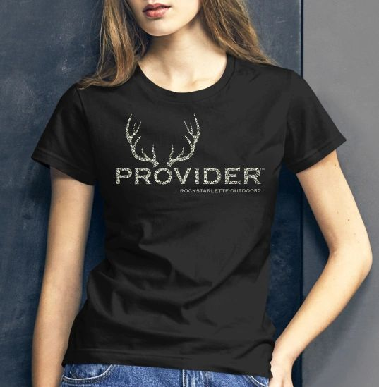 PROVIDER™ Hunting Logo T shirt, Camo Logo/Black Shirt, Relaxed/Loose Fit Crewneck