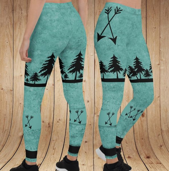 Arrow Leggings, Teal (Option to add a Wide Yoga Waistband)