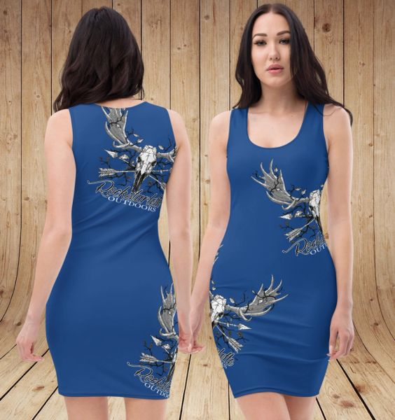 Rockstarlette Outdoors Archery / Moose Logo Fitted Sleeveless Dress, Teal, Black or Blue, NEW!
