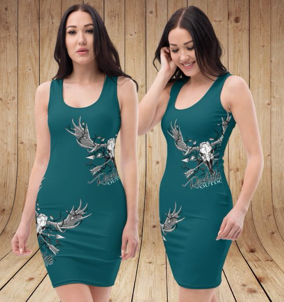SALE 20% OFF, Rockstarlette Outdoors Archery / Moose Logo Fitted Sleeveless Dress, Teal