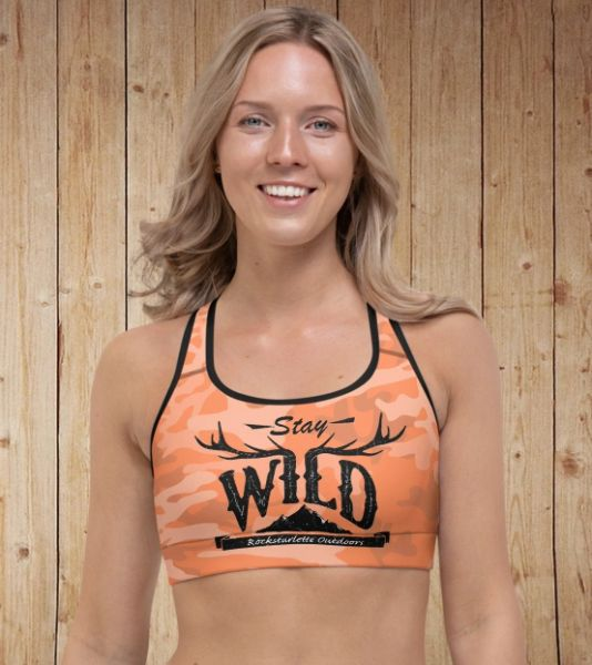 Stay Wild, Sports Bra/ Athletic Top, Orange Camo, Padded or Unpadded