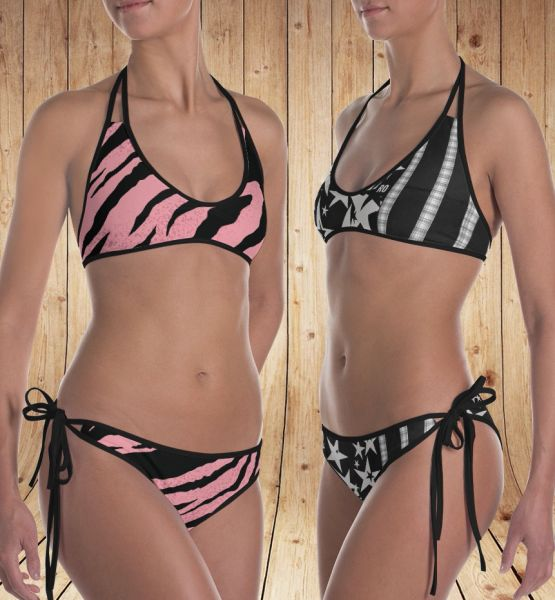 Reversible Bikini, Get Two Swimsuits in One, Stars and Stripes and Pink Zebra Patterns, Made in the USA