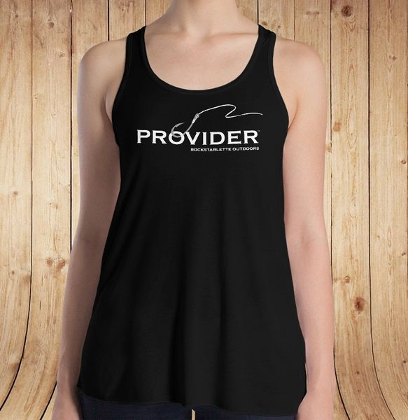 PROVIDER™ Fishing Logo Racerback Tank Top, Relaxed Loose Fit Waist, Black, S-XXL