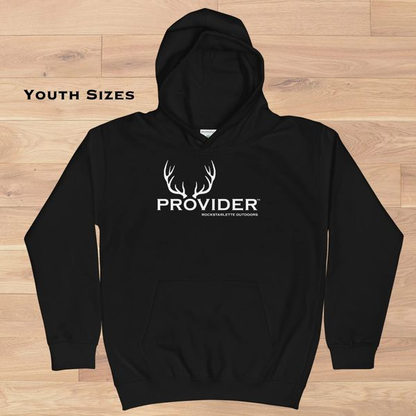 Youth PROVIDER™ Hunting Logo Hoodie, Girls Sizes Ages 3-14, Black or Blue
